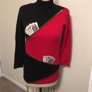 Lillie Rubin Red Playing Card Theme Knit Dress